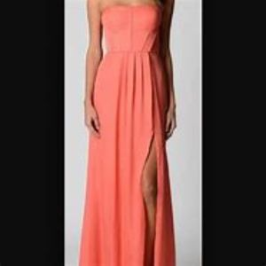 BCBG MAXAZRIA salmon coral slitted maxi dress